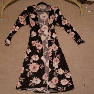 Charlotte Russe black floral cardigan